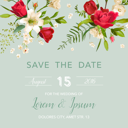 lily flowers: Wedding Invitation Card with Lily and Roses Flowers Background. Save the Date in vector Illustration