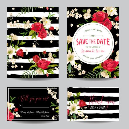 Ahorre el sistema de tarjeta de la invitación o de la enhorabuena de la boda de la fecha. Rosa y lirio tema floral en el vector