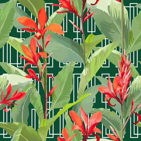 flower pattern: Tropical Leaves and Flowers Background. Seamless Pattern in Vector