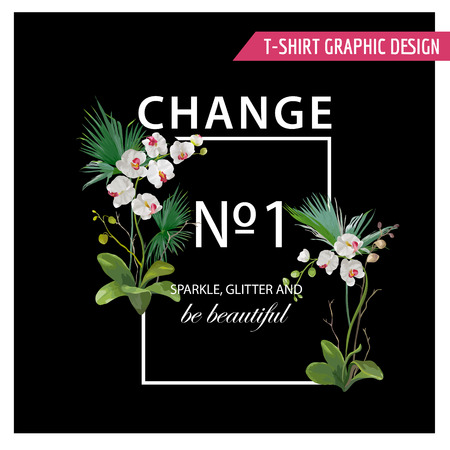 flower layout: Tropical Palm Leaves and Orchid Flowers design.  Graphic Tshirt Design in Vector Illustration