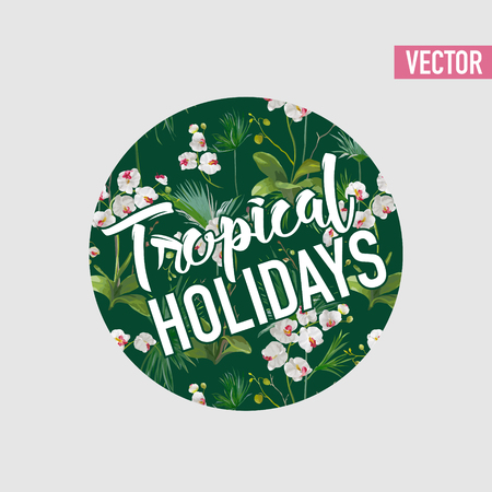 Tropical Palm Leaves and Orchid Flowers design.  Graphic Tshirt Design in Vector Illustration