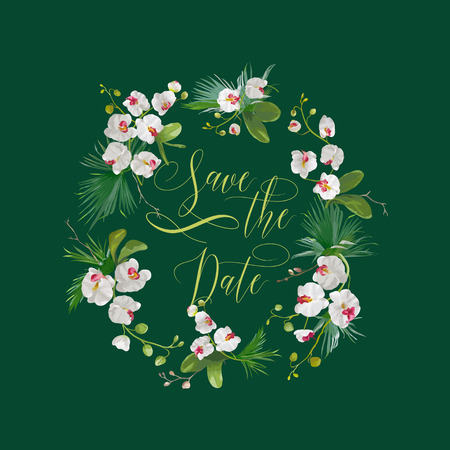 palm wreath: Save the Date Tropical Orchid Flowers Card, for Wedding, Invitation, Party in vector