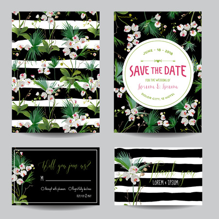 tropical flower: Save the Date Card Set. Tropical Orchid Flowers and Leaves Wedding Invitation. Vector Illustration