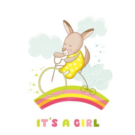 Baby Shower or Arrival Card - Baby Girl Kangaroo on a Bike - in vector