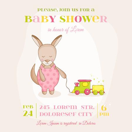 niño parado: Baby Girl Kangaroo with a Train - Baby Shower or Arrival Card - in vector Vectores