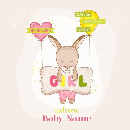niño parado: Baby Girl Kangaroo with Balloons - Baby Shower or Arrival Card - in vector