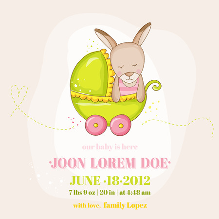 Cute Baby Girl Kangaroo in a Carriage - Baby Shower or Arrival Card - in vector