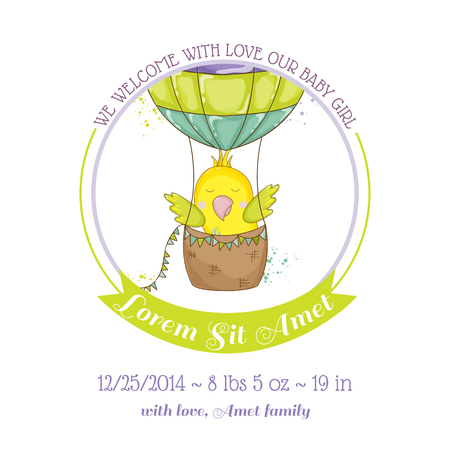Cute Parrot Flying in Air Balloon. Baby Shower or Arrival Card in vector