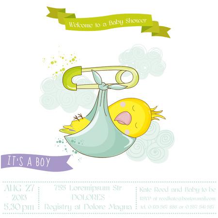 niño parado: Cute Newborn Parrot. Baby Shower or Arrival Card in vector