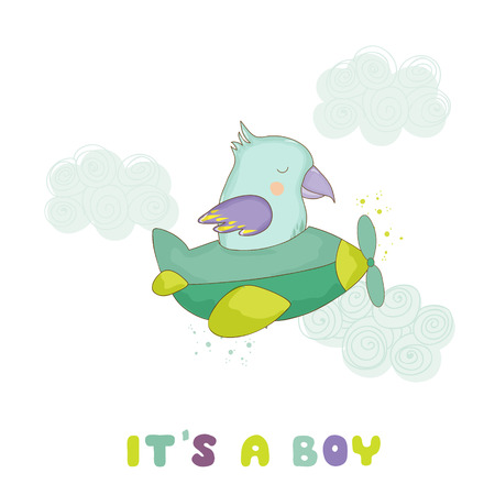 baby: Baby Shower or Arrival Card. Cute Parrot Flying on a Plane in vector