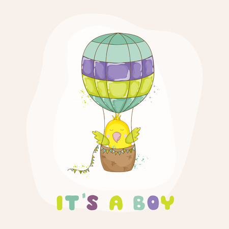 scraps: Cute Parrot Flying in Air Balloon. Baby Shower or Arrival Card in vector
