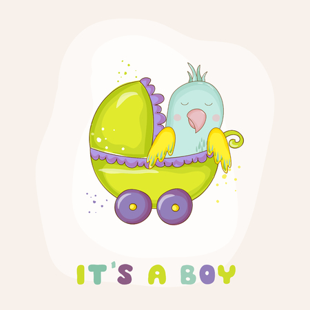 Cute Newborn Parrot Riding in a Carriage. Baby Shower or Arrival Card in vector Illustration