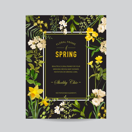 Vintage Summer and Spring Floral Frame. Watercolor Field Flowers for Invitation, Wedding, Baby Shower Card in Vector.