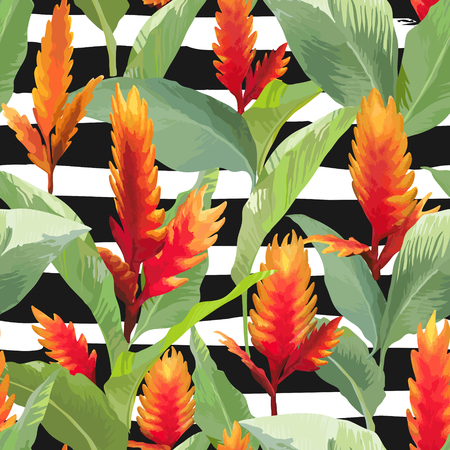 pattern: Tropical Leaves and Flowers Background. Seamless Pattern in Vector