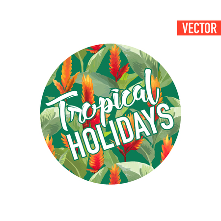 vintage fashion: Vintage Tropical Leaves and Flowers Graphic Design for T shirt, Fashion, Prints in Vector