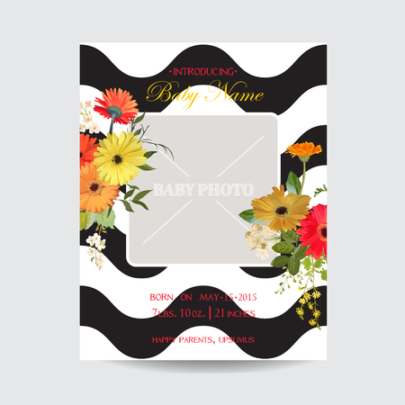 Baby Arrival Summer and Spring Floral Card in Watercolor Style. Vector Vintage Field Flowers.