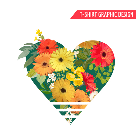 Vintage Colorful Flowers Graphic Design for T-shirt, Fashion, Prints in vector. Illustration