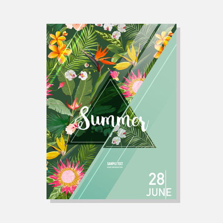 Tropical Exotic Flowers Summer Graphic, Exotic Floral Banner or Card in Vector