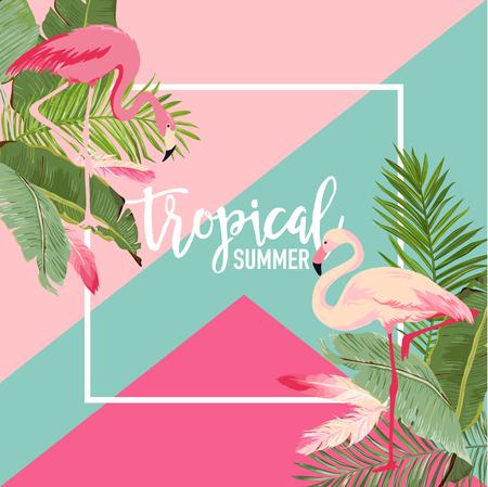 Tropische bloemen en Flamingo zomer Banner, grafische achtergrond, exotische bloemen uitnodiging, Flyer of kaart. Moderne voorpagina in vector Stock Illustratie