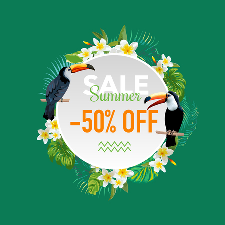 sell: Summer Sale Tropical Flowers and Exotic Birds Banner, for Discount Poster, Fashion Sale, Market Offer in vector.