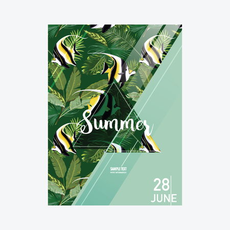 scraps: Brochure Template. Tropical Fish Summer Graphic Background, Exotic Floral Banner, Invitation, Flyer or Card. Modern Front Page in Vector Illustration