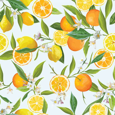 limon: Orange and Limon Seamless Tropical Pattern in Vector. Illustration of Flowers, Leaves and Fruits. Illustration
