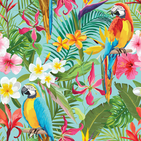 Tropical Flowers and Parrots Seamless Vector Floral Summer Pattern. For Wallpapers, Backgrounds, Textures, Textile Vettoriali