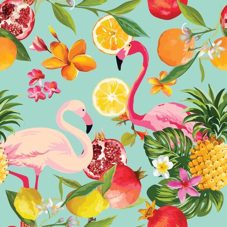 シームレスなトロピカル フルーツとベクトルでフラミンゴのパターン。ザクロ、レモン、オレンジの花、葉および果物背景。