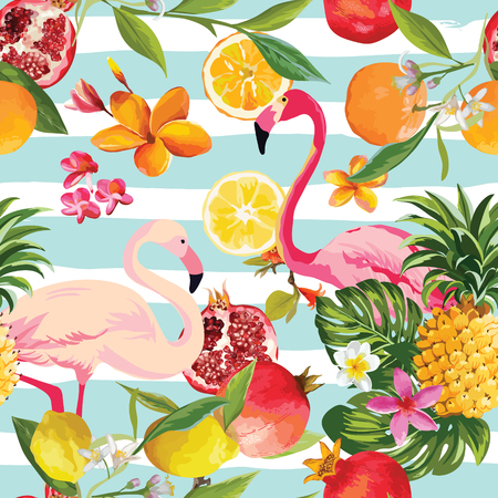 Seamless Tropical Fruits and Flamingo Pattern in Vector. Pomegranate, Lemon, Orange Flowers, Leaves and Fruits Background.