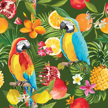 Seamless Tropical Fruits and Parrot Pattern in Vector. Pomegranate, Lemon, Orange Flowers, Leaves and Fruits Background. Stock Illustratie