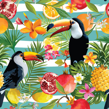 Seamless Tropical Fruits and Toucan Pattern in Vector. Pomegranate, Lemon, Orange Flowers, Leaves and Fruits Background.