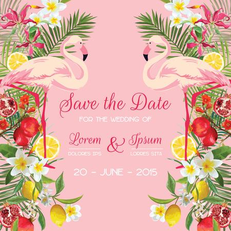 Bewaar de datum huwelijkskaart met tropische bloemen, fruit, Flamingo Bird. Floral achtergrond in vector