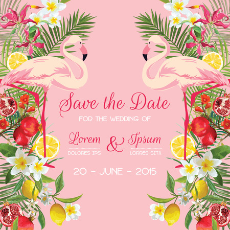 Save the Date Wedding Card with Tropical Flowers, Fruits, Flamingo Bird. Floral Background in vector