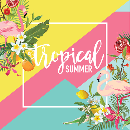 Tropical Lemon, Pomegranate Fruits, Flowers and Flamingo Birds Summer Banner, Graphic Background, Exotic Floral Invitation, Flyer or Card. Modern Front Page in Vector.