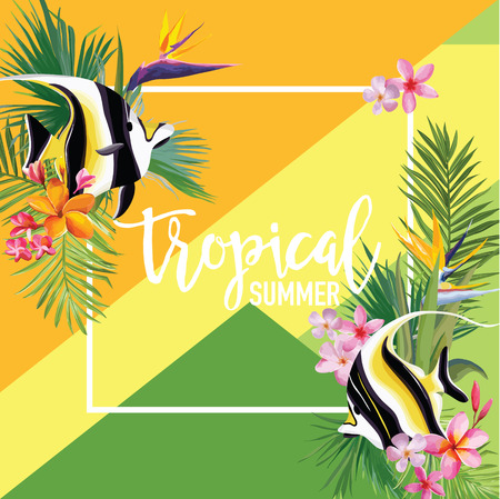 Tropical Flowers and Fish Summer Banner, Graphic Background, Exotic Floral Invitation, Flyer or Card. Modern Front Page in Vector. Illustration