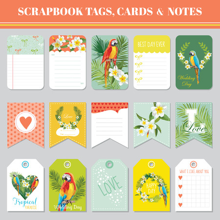 Tropical Flowers And Parrots Theme For Scrapbook Tags Cards