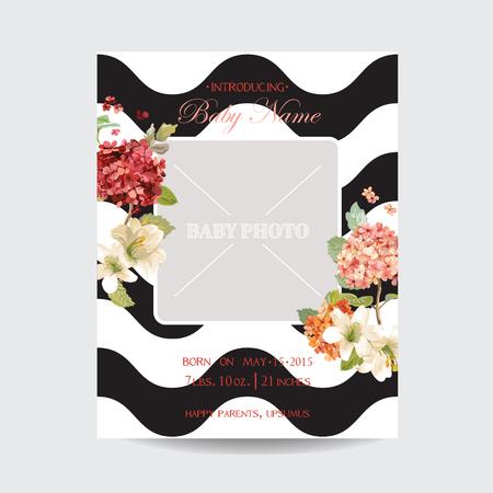 아기 도착 수채화 스타일의가 및 여름 꽃 카드. 벡터 빈티지 Hortensia 꽃