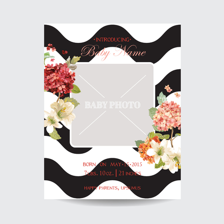 Baby Arrival Autumn and Summer Floral Card in Watercolor Style. Vector Vintage Hortensia Flowers