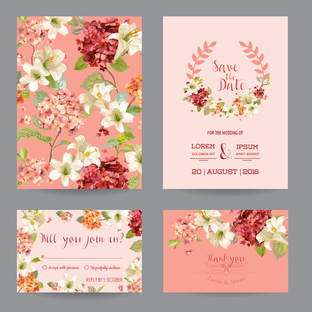 autumn vintage hortensia flowers save the date card for wedding