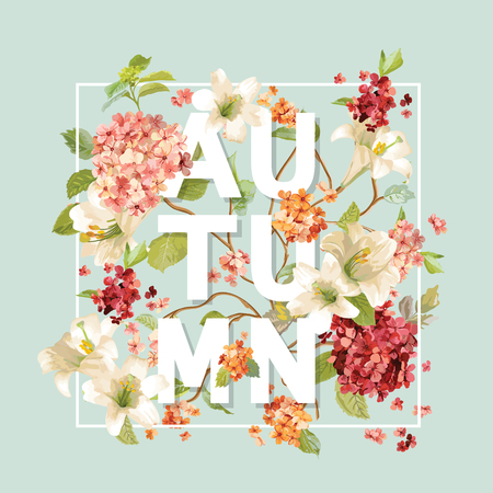 Autumn Hortensia Flowers Background Design in Vector. T-shirt Graphic, Fashion Print. Illustration