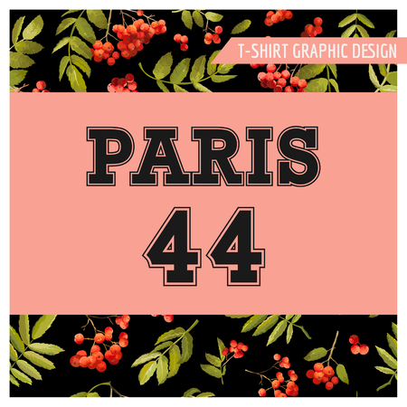 Autumn T-shirt Floral Paris Graphic. Fall Nature Travel Background