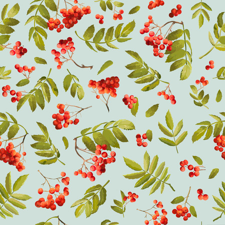 Fall Rowanberry Seamless Background. Floral Autumn Pattern with Leaves and Berries in Vector. Illustration