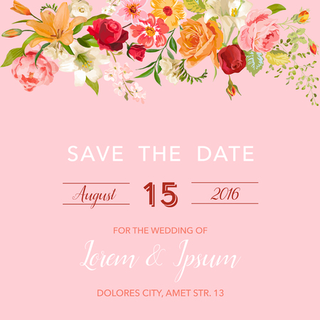 wedding invitation template floral save the date card with lily