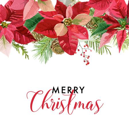 クリスマス冬ポインセチアの花カードまたは背景ベクトルで、テキストのための場所と