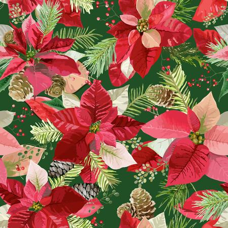 クリスマス冬ポインセチア花シームレスな背景、ベクターで花柄パターン