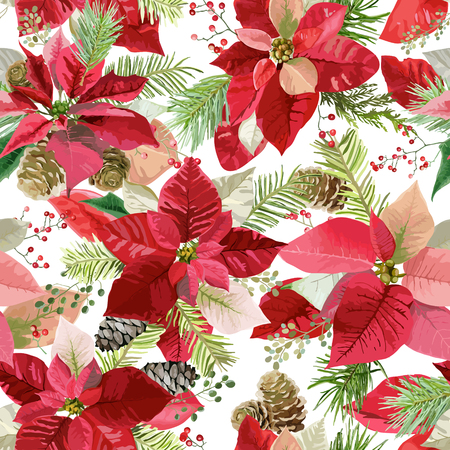 Christmas Winter Poinsettia Flowers Seamless Background, Floral Pattern Print in vector Banco de Imagens - 87713878