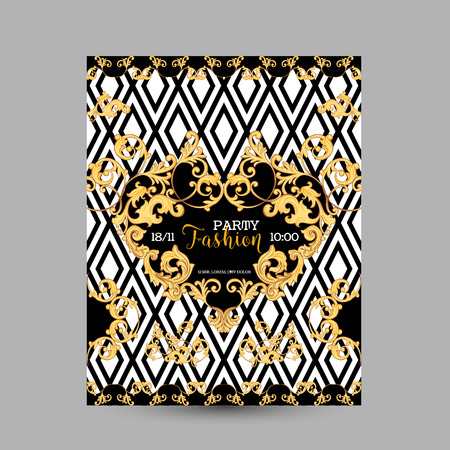 Baroque Fashion Decorative Design Posters, Luxury Brochures, Club Party Flyer, Abstract Renaissance Background in Vector Illustration