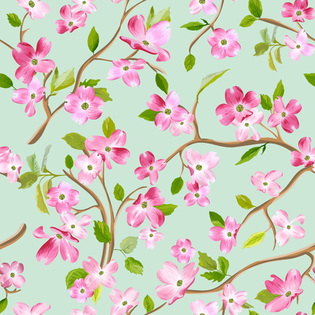 Blooming spring flowers pattern background. Seamless fashion print in vector Иллюстрация