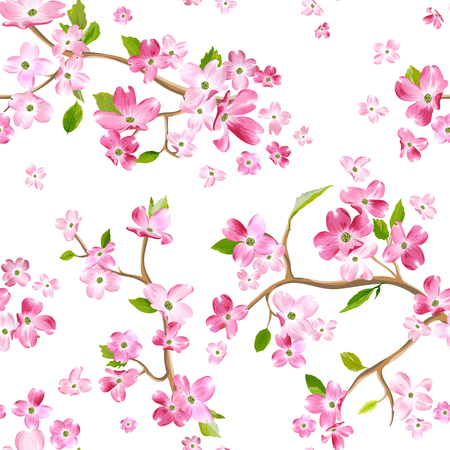 Blooming spring flowers pattern background. Seamless fashion print in vector Illusztráció