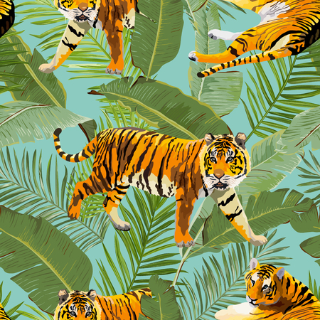 Tigers in flowers and palm leaves illustration.